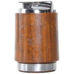 Modern Ronson Varaflame Teak and Chrome Table Lighter Made England, 1960s