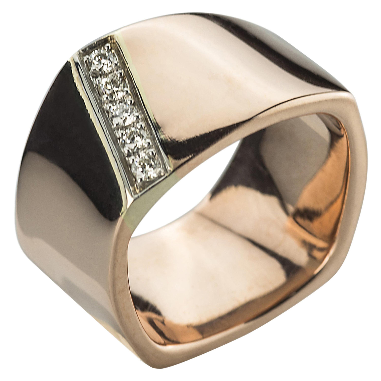 Modern Rose and White Gold 0.20 Karat White Diamonds Handcrafted Design Ring