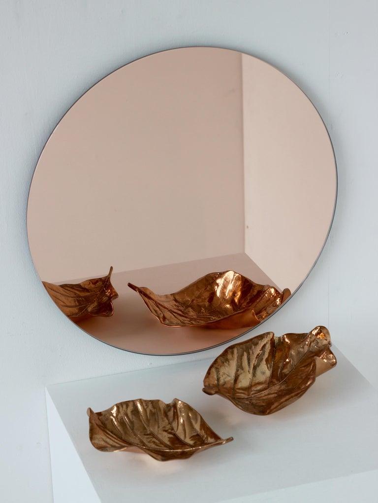 Organic Modern Modern Rose / Peach Tinted Frameless Orbis Mirror Circular Shaped, Wall Mirror For Sale