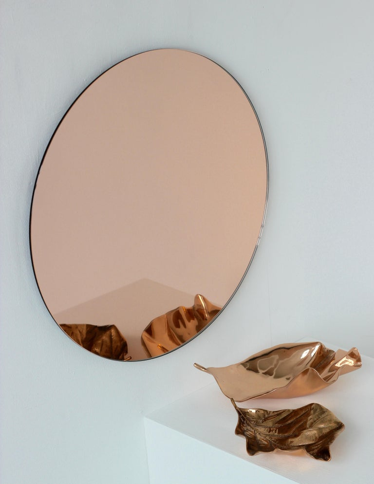 Modern Rose / Peach Tinted Frameless Orbis Mirror Circular Shaped, Wall Mirror In New Condition For Sale In London, GB