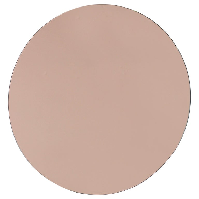 Modern Rose Peach Tinted Frameless Orbis Mirror Circular