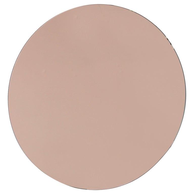 Modern Rose / Peach Tinted Frameless Orbis Mirror Circular Shaped, Wall Mirror For Sale