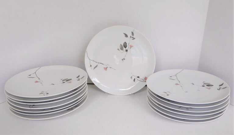 A popular pattern, Quince, for Continental China, Rosenthal, the German porcelain maker was designed by Raymond Loewy and in production from 1956 through 1964. Mid Century Modern depiction of flowering Quince tree branches in grays and pink. The