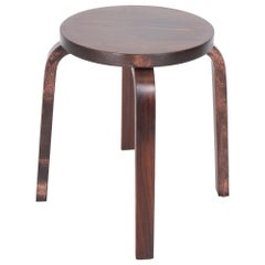 Modern Rosewood Low Stool E60 Iconic Design by Alvar Aalto for Artek Denmark