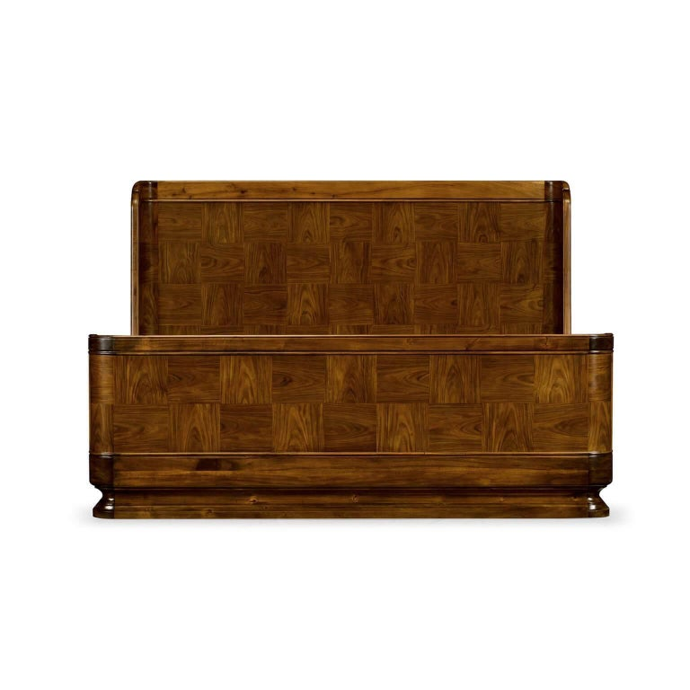 Modern polished Santos rosewood parquetry framed queen size bed.  Dimensions: 64