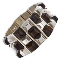 Modern Rosewood Silver Designer Cuff Bracelet