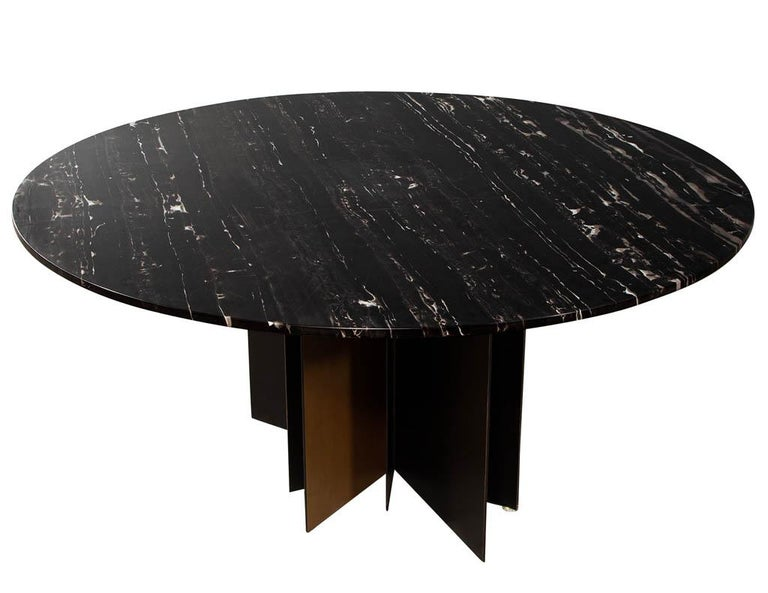 American Modern Round Black Marble Top Dining Table For Sale