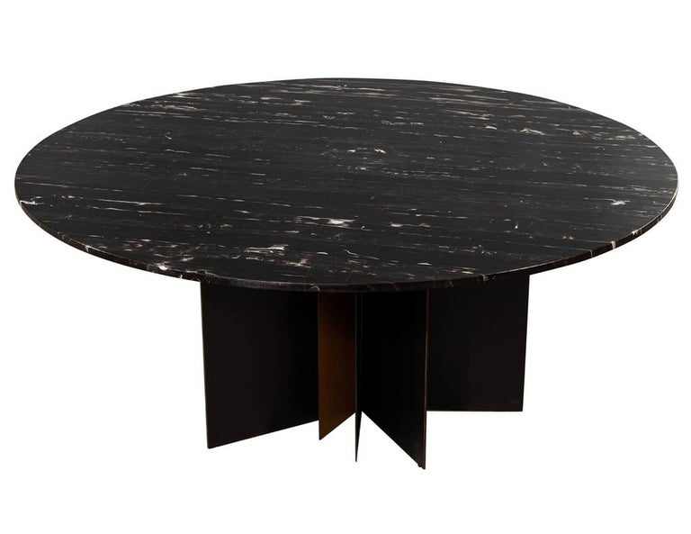 Contemporary Modern Round Black Marble Top Dining Table For Sale
