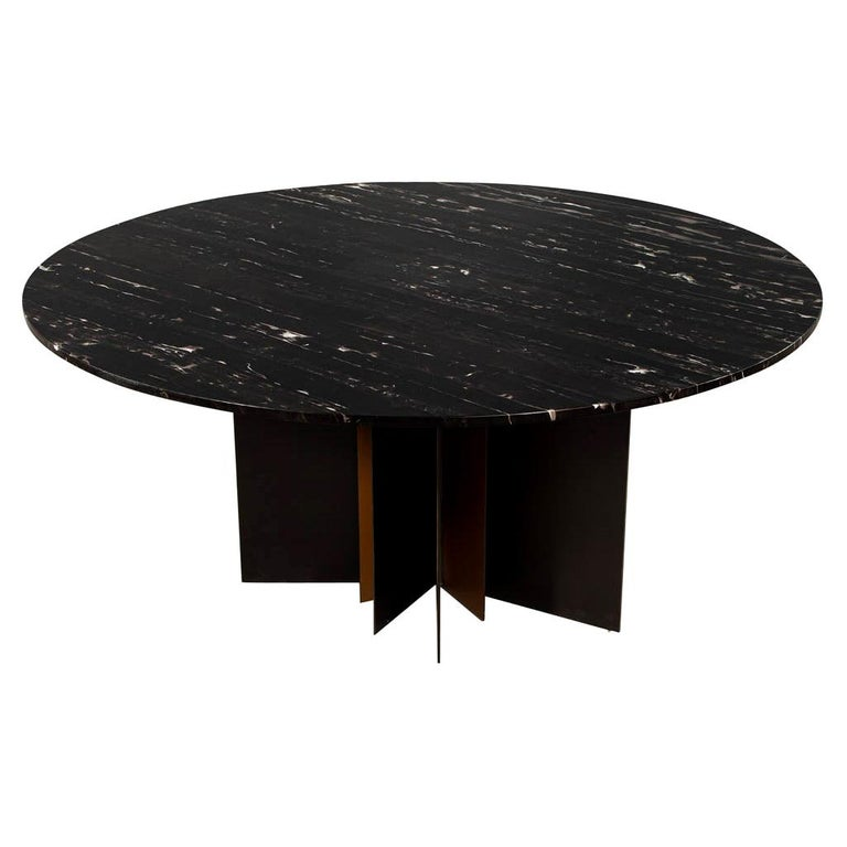 Modern Round Black Marble Top Dining Table For Sale