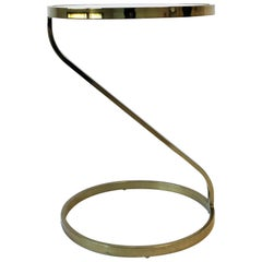 Modern Round Brass and Glass Side or End Table