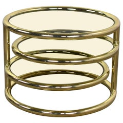 Modern Round Brass & Smoke Glass End Table or Coffee Table with Pivoting Tiers