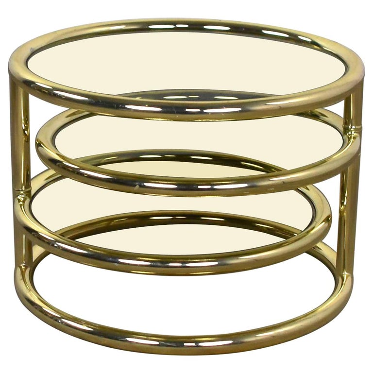 Modern Round Brass And Smoke Glass End Table Or Coffee Table With Pivoting Tiers For Sale At 1stdibs