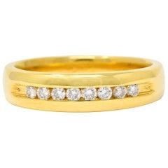 Modern Round Brilliant Cut Diamond 14 Karat Yellow Gold Men's Channel Band Ring