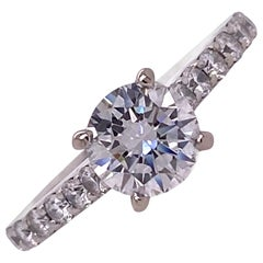 Modern Round Brilliant Diamond Engagement Ring 1.00 Carat E/VVS1 GIA