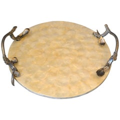 Modern Round Capiz Shell and Pewter Branch Handles Decorative Tray, Serving Tray