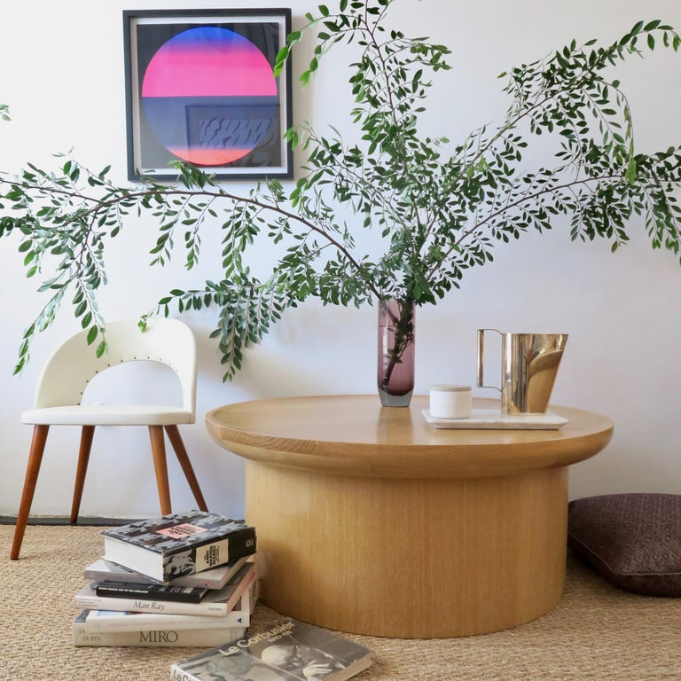 Modern Round Coffee Table in Cerused Oak, Brown by Martin and Brockett For Sale 2