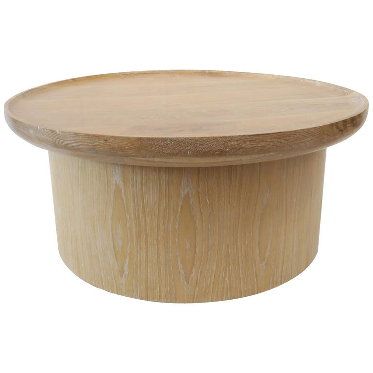 Modern Round Coffee Table in Cerused Oak by Martin and Brockett, Floor Model  For Sale