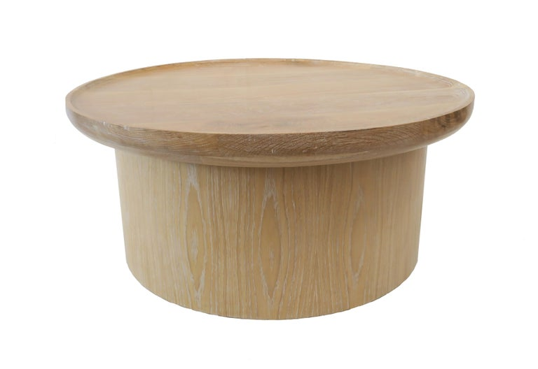 American Modern Round Coffee Table in Cerused Oak, Brown by Martin and Brockett For Sale