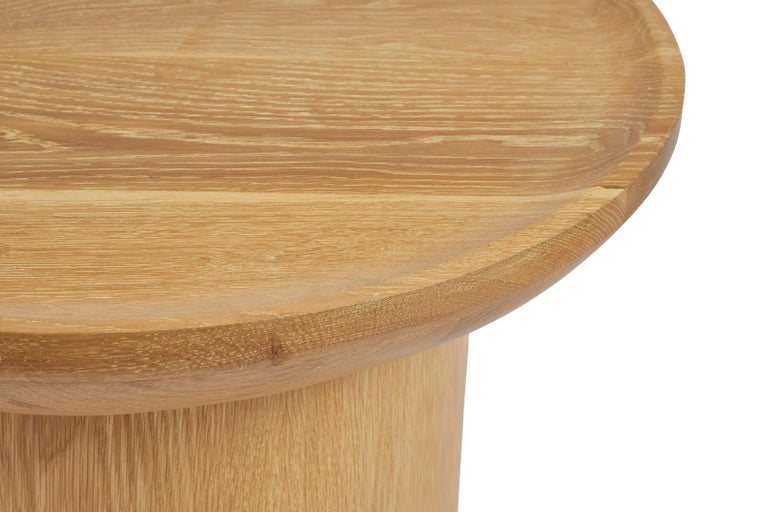 Modern Round Coffee Table in Cerused Oak, Brown by Martin and Brockett In New Condition For Sale In Los Angeles, CA