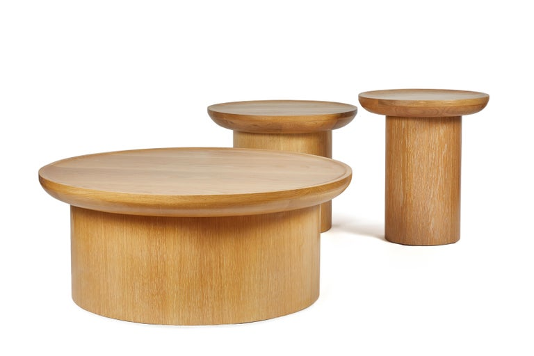 Contemporary Modern Round Coffee Table in Cerused Oak, Brown by Martin and Brockett For Sale