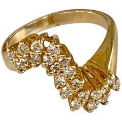 Modern Round Cut Diamond 14 Karat Yellow Gold Ring