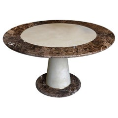 Modern Round Dining Table Brown Emperador Marble Scagliola Shagreen Decoration