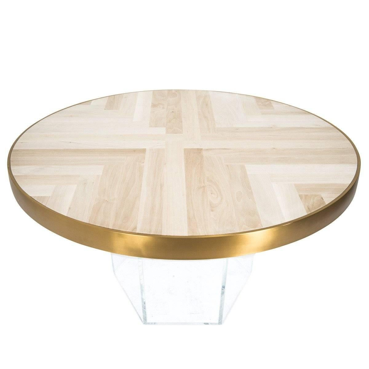 Modern Round Dining Table Herringbone Pattern Bleached Walnut Top Plinth  Base