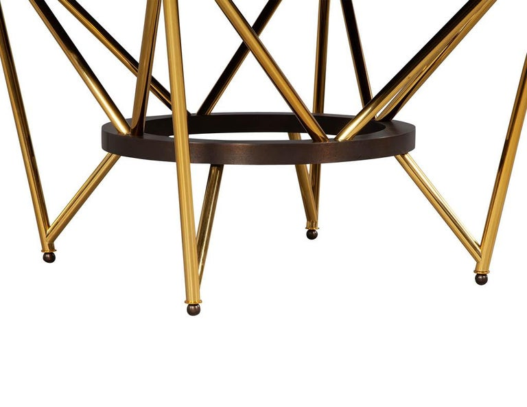 Modern Round Dining Table with Brass Base For Sale 5