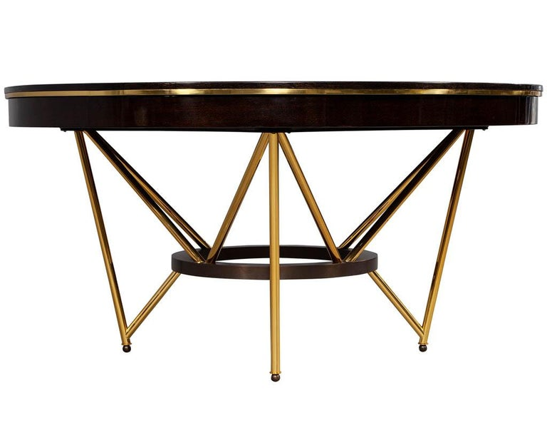 Modern Round Dining Table with Brass Base For Sale 6