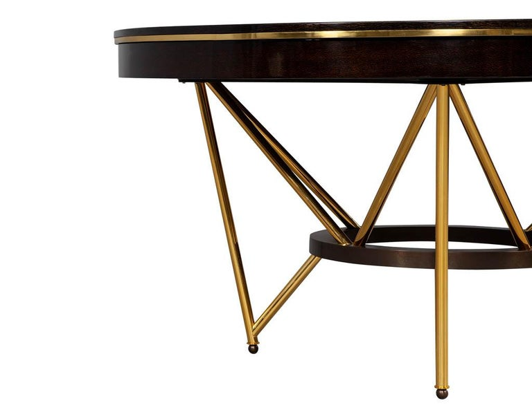 Modern Round Dining Table with Brass Base For Sale 7