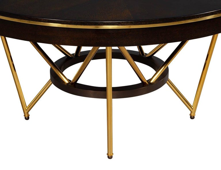 Modern Round Dining Table with Brass Base For Sale 8
