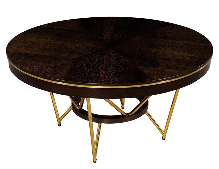 American Modern Round Dining Table with Brass Base For Sale