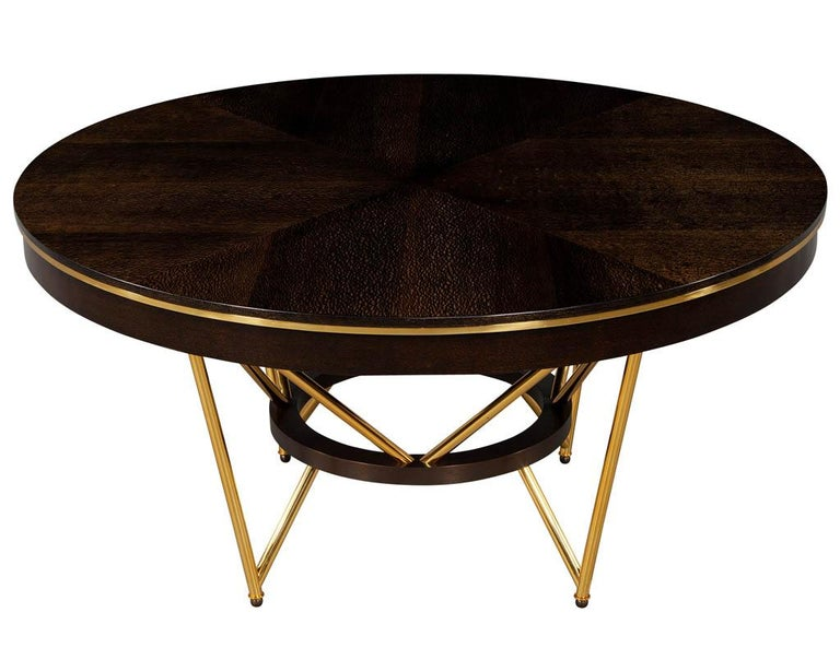 Modern Round Dining Table with Brass Base In Excellent Condition For Sale In North York, ON