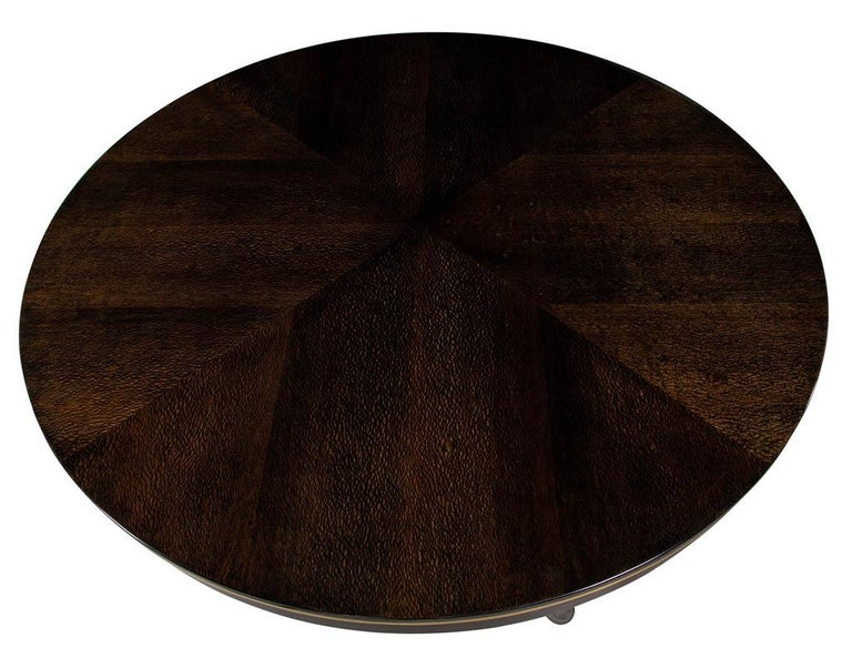 Late 20th Century Modern Round Dining Table with Brass Base For Sale
