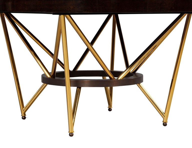 Modern Round Dining Table with Brass Base For Sale 4