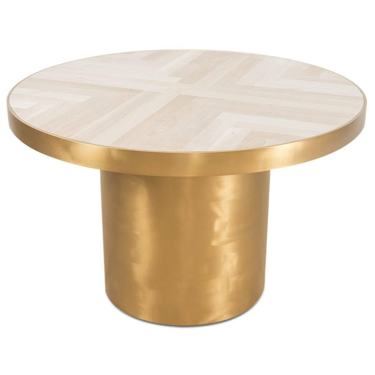 Modern Round Dining Table With Herringbone Pattern Walnut Top Brass Round  Base For Sale