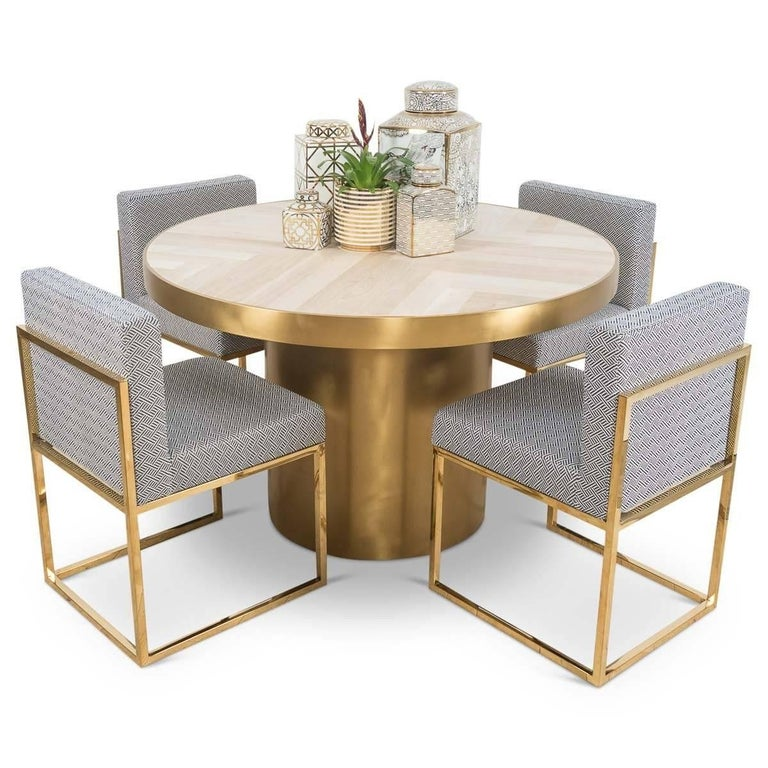 Modern Dining Table Sets On Sale: Modern Round Dining Table With Herringbone Pattern Walnut