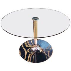 High Quality Modern Round Glass Table with Chrome Foot Brand Calligaris