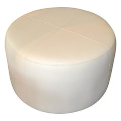 Modern Round Handcrafted Leather Ottoman, Pouf in Beige Leather, Contemporary