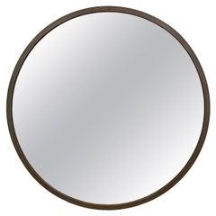 Modern Round Iron Framed Mirror