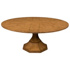 Modern Round Jupe Dining Table, Oak Finish