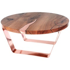 Modern Round Live Edge Coffee Table with Copper Inlay and Legs