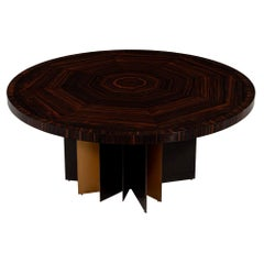 Modern Round Macassar Dining Table with Metal Base
