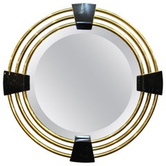 Modern Round Mirror Attributed to Karl Springer