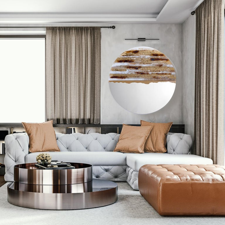 Contemporary and modern round mirror with Murano kind handmade glass colored using metal oxides in white, brown and liquid metal in gold color. Limited collection signed by Edith Baranska showed for the first time in Milan, 2019. Each piece is