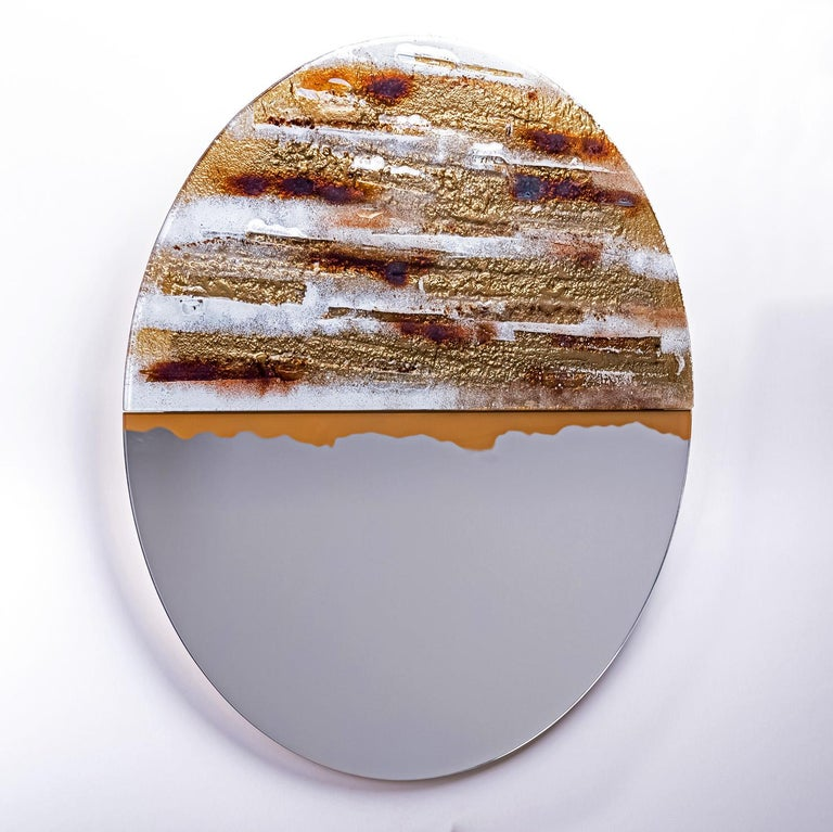 Modern Round Mirror Desert Sun with Murano Kind Glass in Gold, Brown, White In New Condition For Sale In Sopot, Pomorskie
