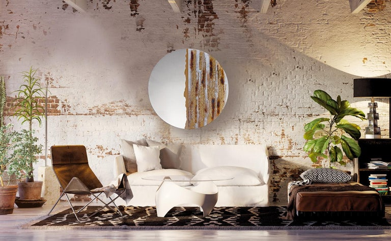 Contemporary Modern Round Mirror Desert Sun with Murano Kind Glass in Gold, Brown, White For Sale