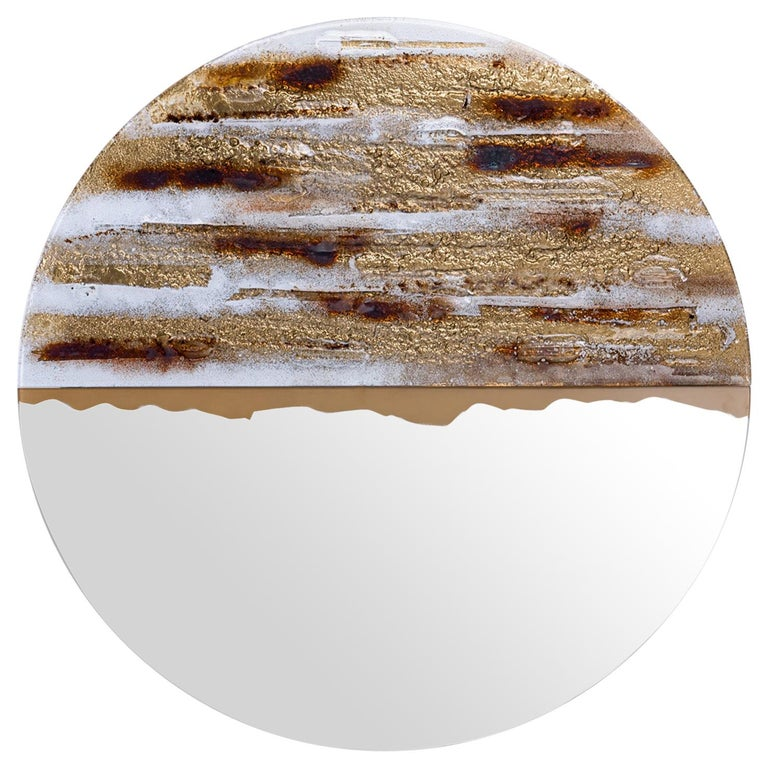 Modern Round Mirror Desert Sun with Murano Kind Glass in Gold, Brown, White For Sale