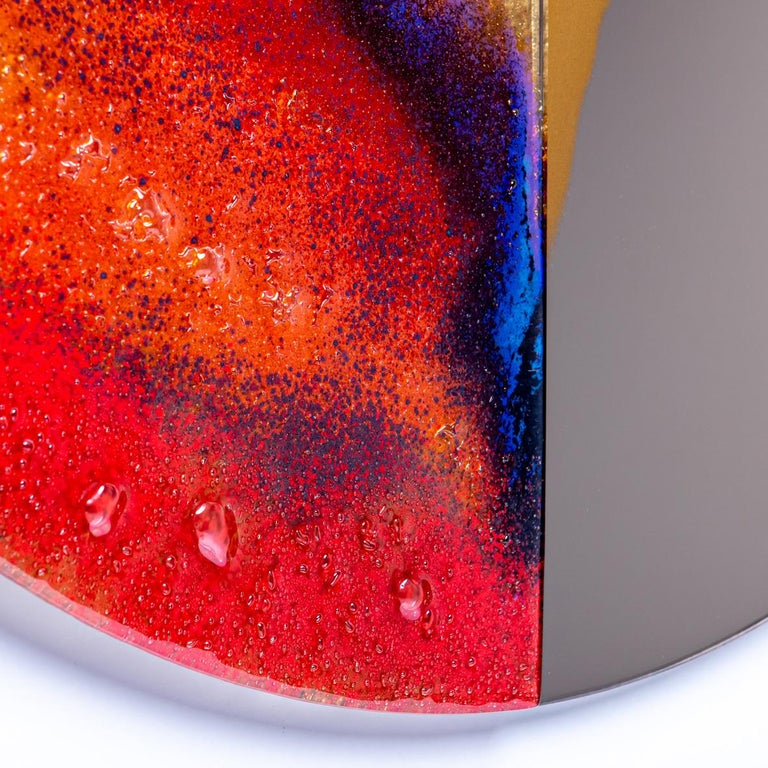 Polish Modern Round Mirror Four Seasons Autumn with Murano Kind Glass For Sale