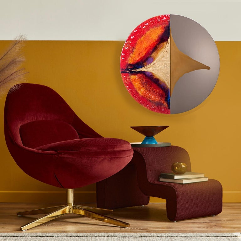 Modern Round Mirror Four Seasons Autumn with Murano Kind Glass In New Condition For Sale In Sopot, Pomorskie